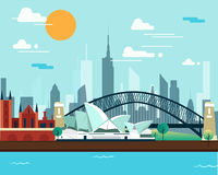Sydney opera house and bridge for traveling.  royalty free illustration