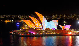 Sydney Opera House in bright patterns of orange and blue Vivid S Stock Images
