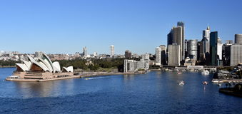 Sydney Opera House and Circular Quay view from Harbour Bridge. The Sydney Opera House is identif Stock Photo