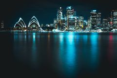 Sydney opera house with city skyline with a futuristic feeling royalty free stock photo