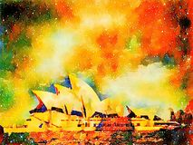 Sydney Opera House and colored sky Stock Image