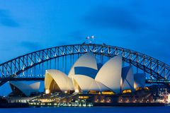 Sydney Opera House an der Dämmerung Stockbild