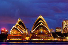 Sydney Opera House at dusk Stock Images