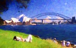 Sydney Opera House et pont de port ; Style de peinture à l'huile images libres de droits