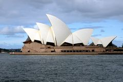 Sydney Opera House. The famous opera house as seen from the Harbour Bridge stock image