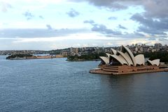 Sydney Opera House. The famous opera house as seen from the Harbour Bridge royalty free stock image