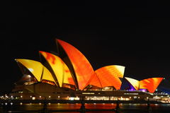 Sydney Opera House with festival lighting. Stock Photos