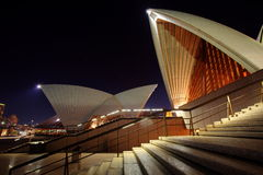 Sydney Opera House front steps. Detail of Sydney Opera House at night stock photos