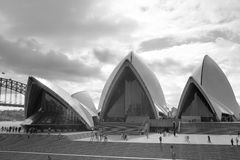 Sydney Opera House front black-and-white Royalty Free Stock Images