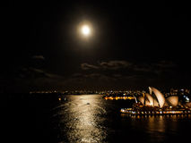 Sydney opera house on full moon day Stock Image