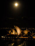 Sydney opera house in full moon day Royalty Free Stock Photo