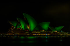 Sydney Opera House on St Patrick Day. Sydney Opera House with green lighting on St Patrick Day 2013 Stock Photos