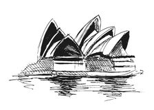 Sydney Opera House. Hand sketch Sydney Opera House. Vector illustration Royalty Free Stock Images
