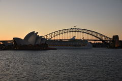 Sydney Opera House and Harbor Bridge at Sunset, AUSTRALIA Stock Images