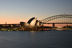 Sydney Opera House and Harbor Bridge at Sunset, AUSTRALIA Royalty Free Stock Photo