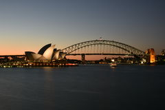 Sydney Opera House and Harbor Bridge at Sunset, AUSTRALIA Stock Photo