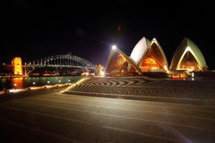 Sydney Opera house and Harbour Bridge. Night scene of Sydney Opera house and Sydney Harbour Bridge