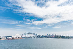 Sydney Opera House and Harbour Bridge. Australia. River Water. Wide Angle Royalty Free Stock Images
