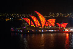 Vivid Sydney 2015: the Sydney Opera House sails lit Stock Photography