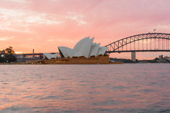 Sydney Opera House and Harbour Bridge at sunset. Sydney,NSW,Australia Sep,12,2016 The Sydney Opera House is a famous art center Stock Images