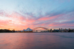 Sydney Opera House and Harbour Bridge at sunset. Sydney,NSW,Australia Sep,12,2016 The Sydney Opera House is a famous art center Stock Photo