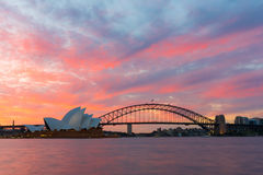 Sydney Opera House and Harbour Bridge at sunset Stock Photo