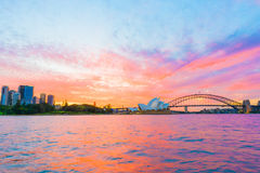 Sydney Opera House and Harbour Bridge at sunset Stock Images