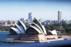 Sydney Opera House from the Harbour Bridge Stock Photos