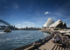 Sydney opera house and harbour promenade outdoor cafes in austra Stock Images