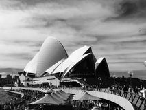 Black and white Sydney Opera House rear view from city Stock Photography