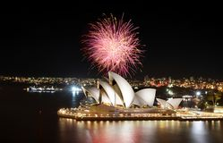 The Sydney Opera House hosts an impression fireworks show royalty free stock photography
