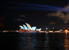 Sydney Opera House illuminated with colourful light design imagery Stock Image