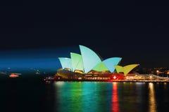 Sydney Opera House illuminated ilight green and aqua Royalty Free Stock Photo