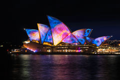 Sydney Opera House illumination Songlines During Vivid Sydney Fe Royalty Free Stock Photography