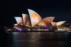 Sydney Opera House illumination Songlines During Vivid Sydney Festival Royalty Free Stock Images