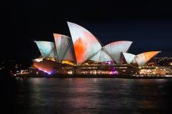 Sydney Opera House illumination Songlines During Vivid Sydney Festival Royalty Free Stock Photos