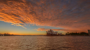 The Sydney Opera House. SYDNEY - june 28 : The Sydney Opera House with burning sky, viewed from Circular Quay in Sydney, Australia on June28, 2014 It was Stock Image
