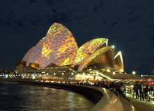 Sydney Opera House - Lighting the Sails  Royalty Free Stock Photos