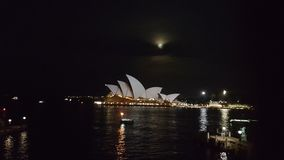 Sydney opera house with the moon Stock Photo