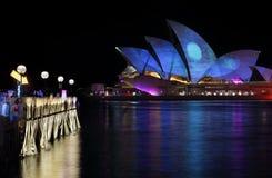 Sydney Opera House Moonscape Vivid Sydney Stock Photography