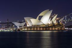 Sydney Opera House na noite Fotos de Stock Royalty Free