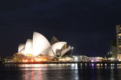 Sydney Opera House na noite Imagens de Stock Royalty Free