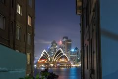 Sydney Opera House nachts, stockfotos