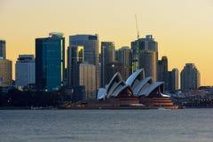 Sydney Opera House nad Circular Quay at evening Royalty Free Stock Photos