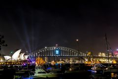 Sydney Opera House at new years eve at night shoot from the Mrs Macquaries Point, Sydney stock photos