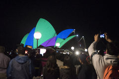 Sydney Opera House at night. The Livid Festival lights up the wings of the Sydney Opera House to the joy of thousands of onlookers Stock Photos
