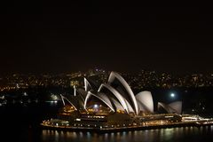 Sydney Opera House at night from Harbour Bridge, Australia stock photos