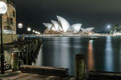 Sydney Opera House at night. From The Rocks pier Stock Photos