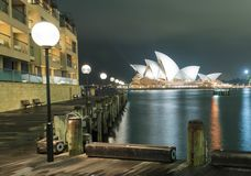 Sydney Opera House at night. From The Rocks pier Stock Images