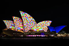 Sydney Opera House Night Vivid Light Festival Royalty Free Stock Photography